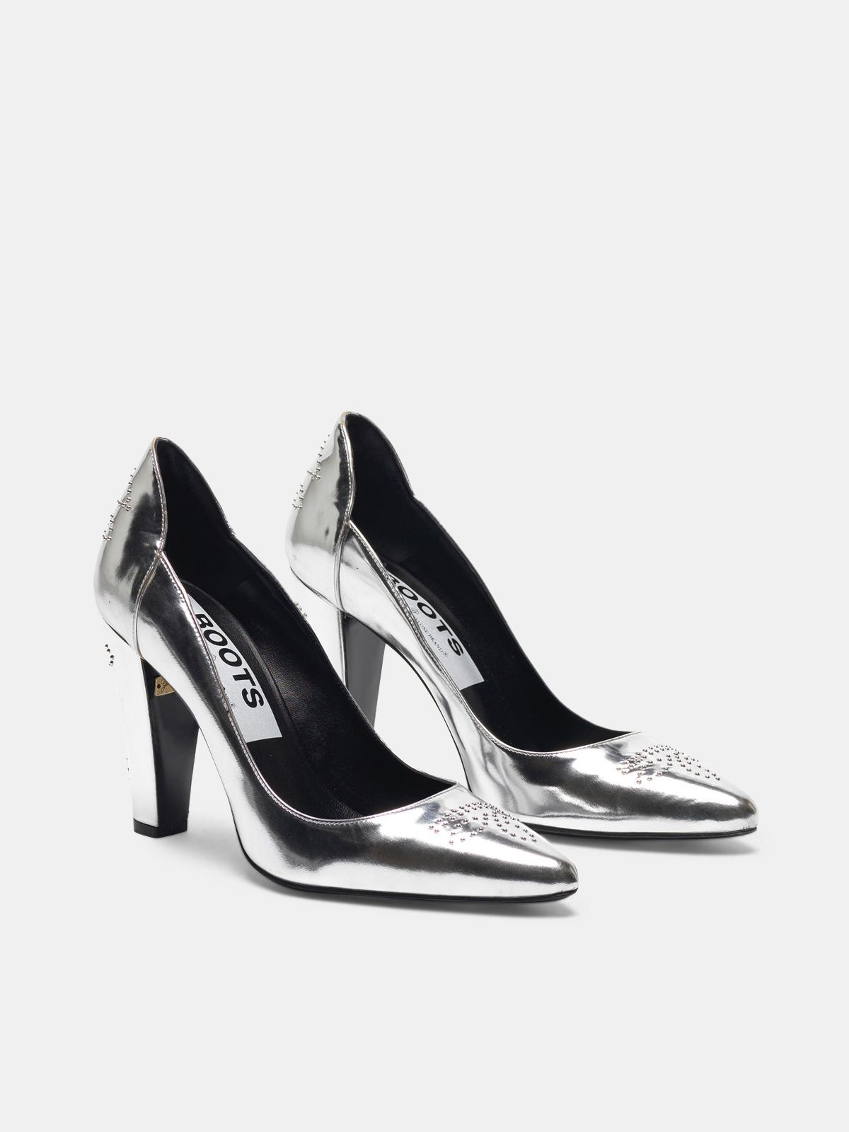 Golden Goose - Silver mirror-finish Gabrielle pump with studs in
