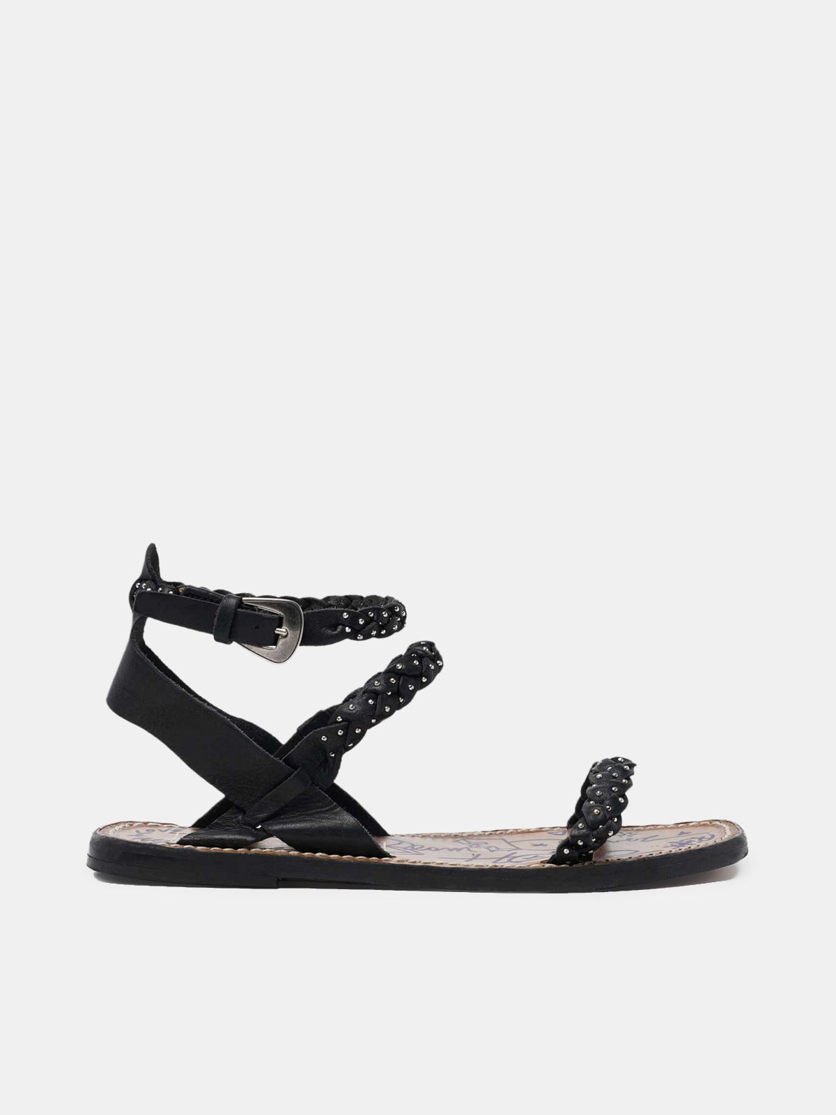 Golden Goose - Molly sandals in black braided leather with stud decoration in
