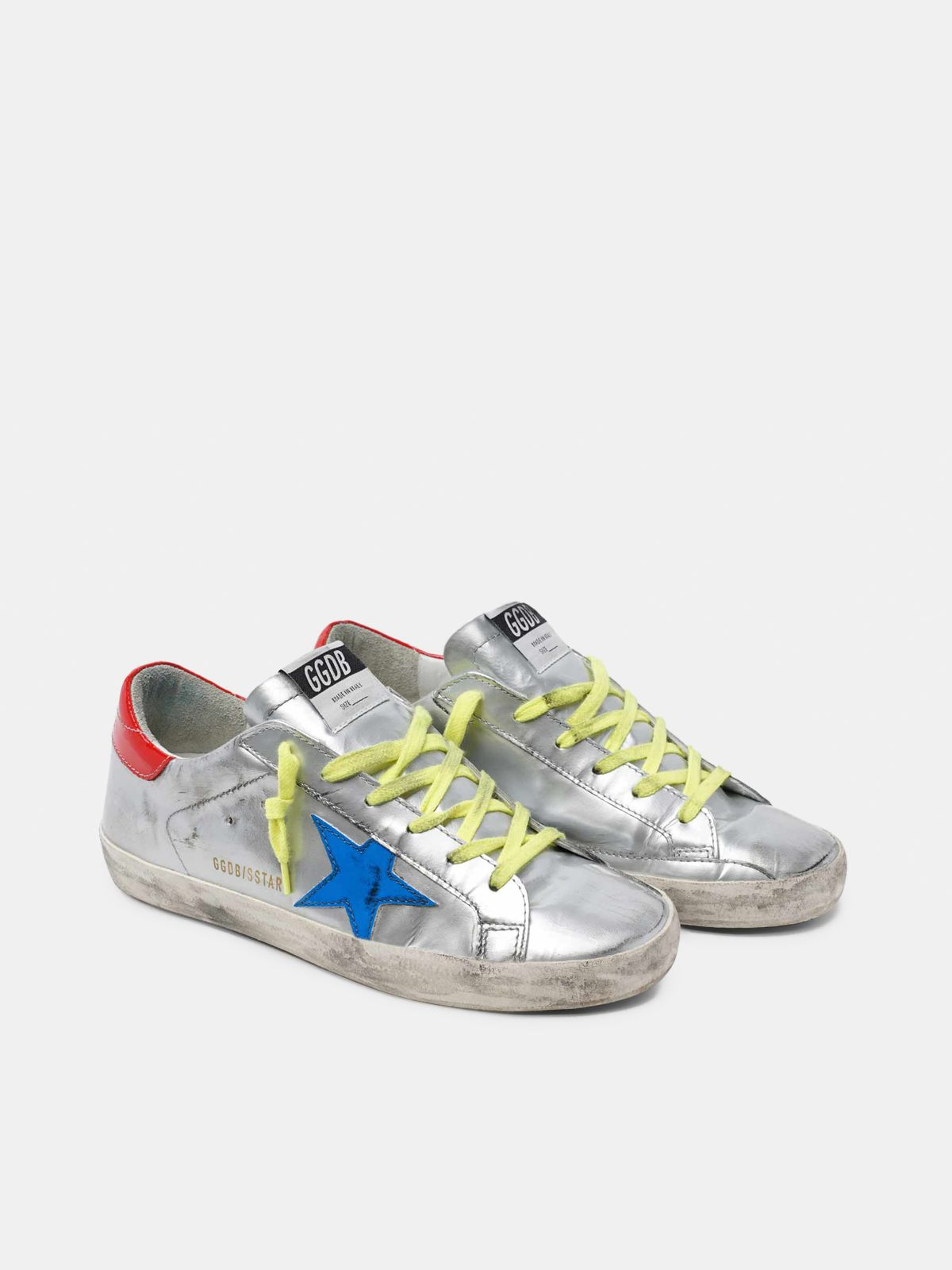 Golden Goose - Silver Super-Star sneakers with blue star in