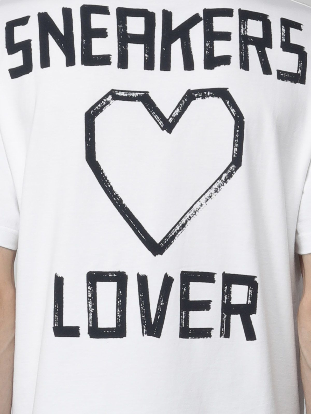 Golden Goose - White Golden T-shirt with 'Sneakers Lovers' print on the back in