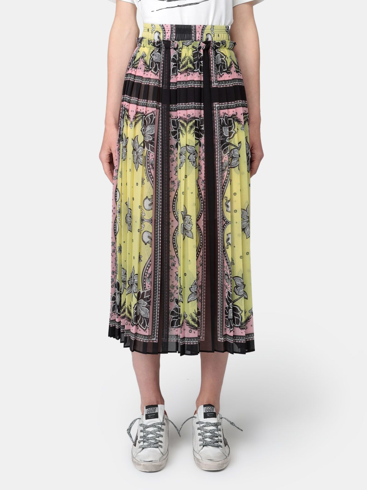Golden Goose - Nessy pleated skirt with bandana print in