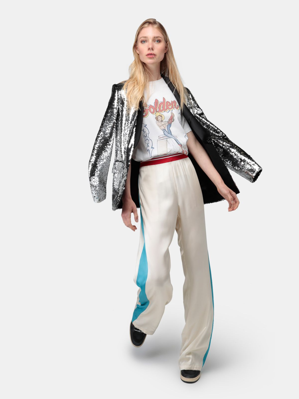 Golden Goose - Kylie jacket with reversible sequins and satin lapels in