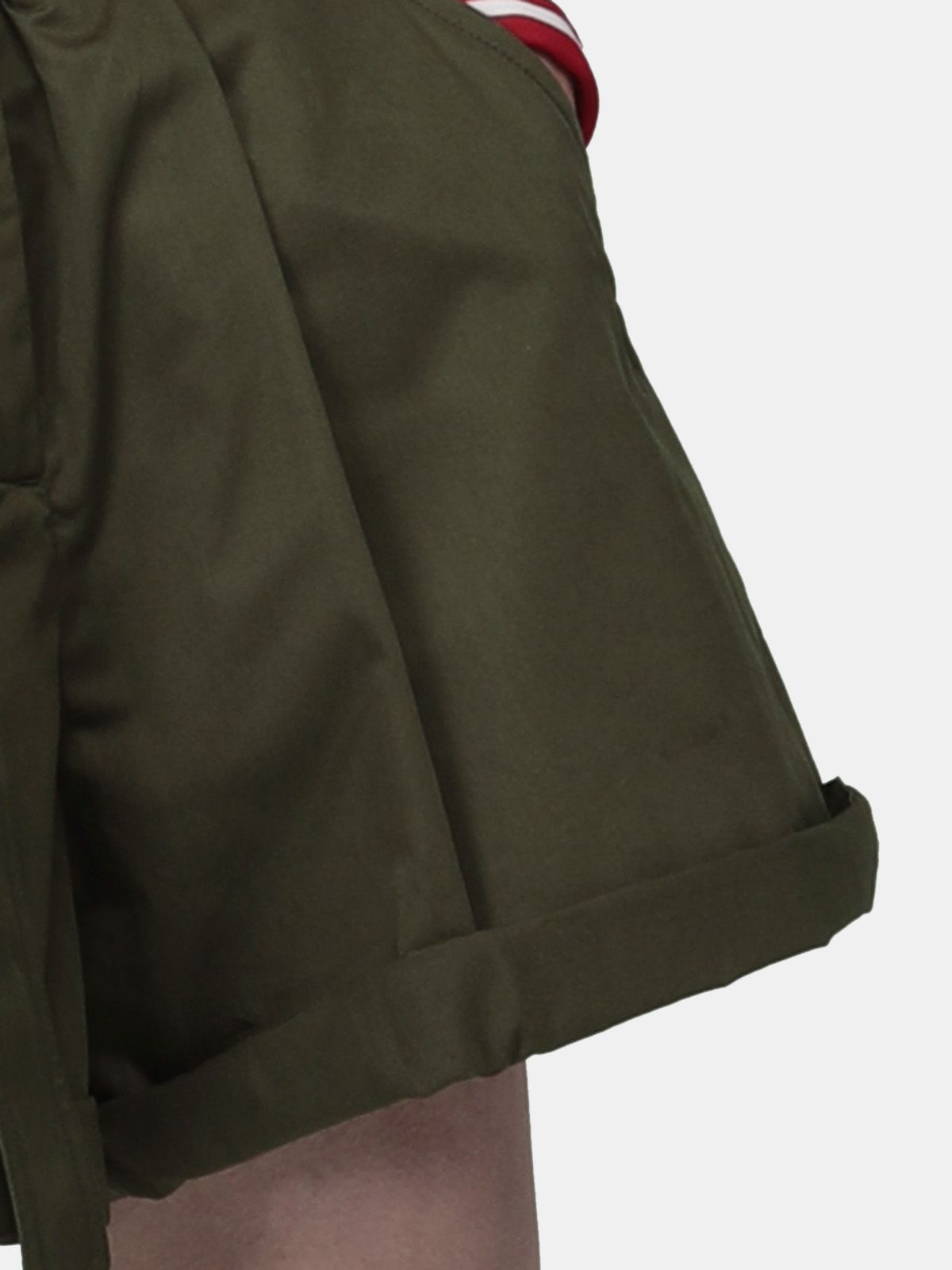 Golden Goose - Bella Bermuda shorts in olive-green with belt at the waist in