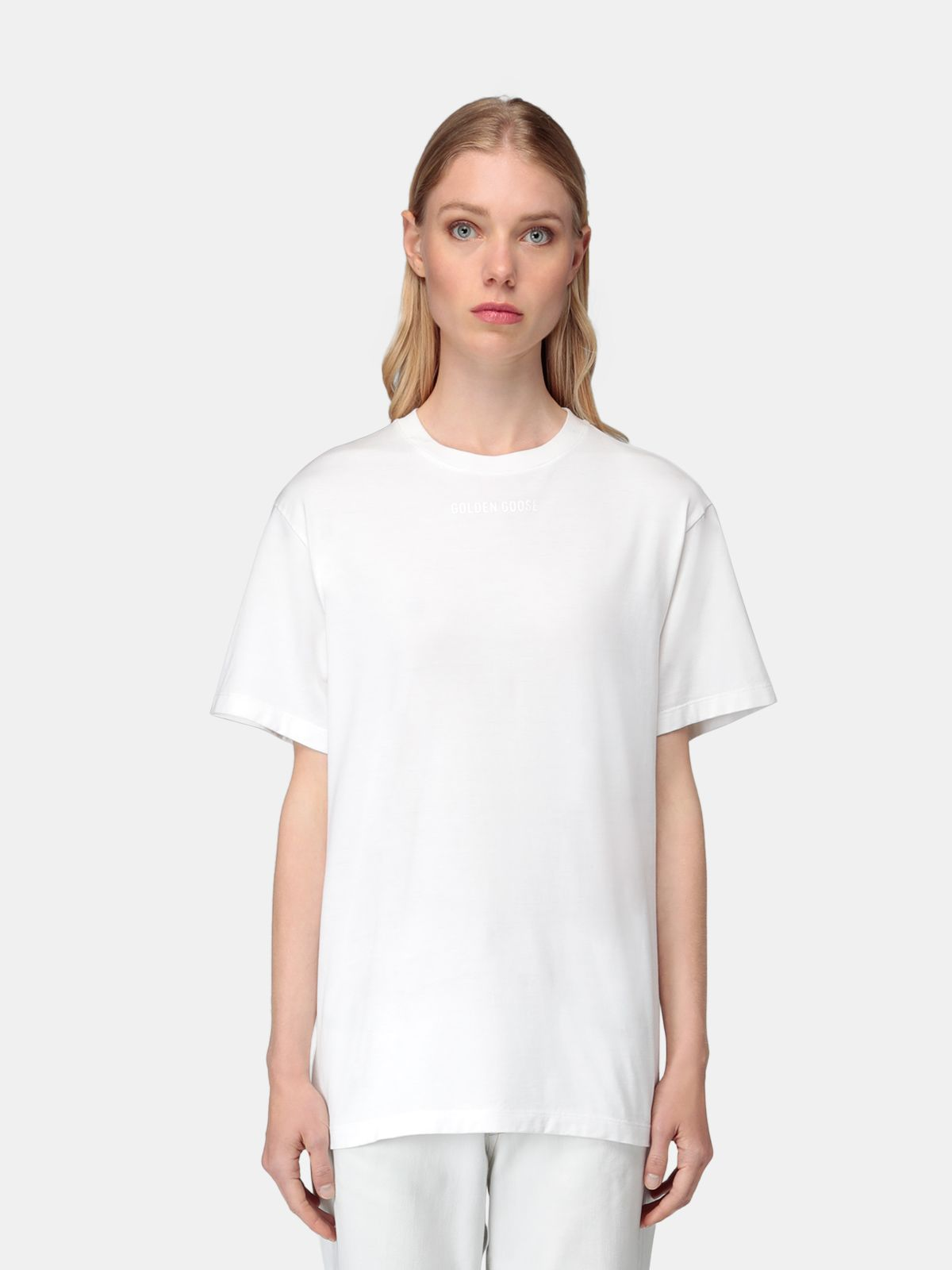 Golden Goose - Golden T-shirt in white with glittery print on the back in