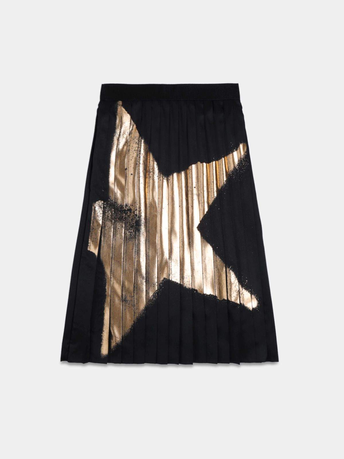 Golden Goose - Riley black skirt with pleating and gold star print in
