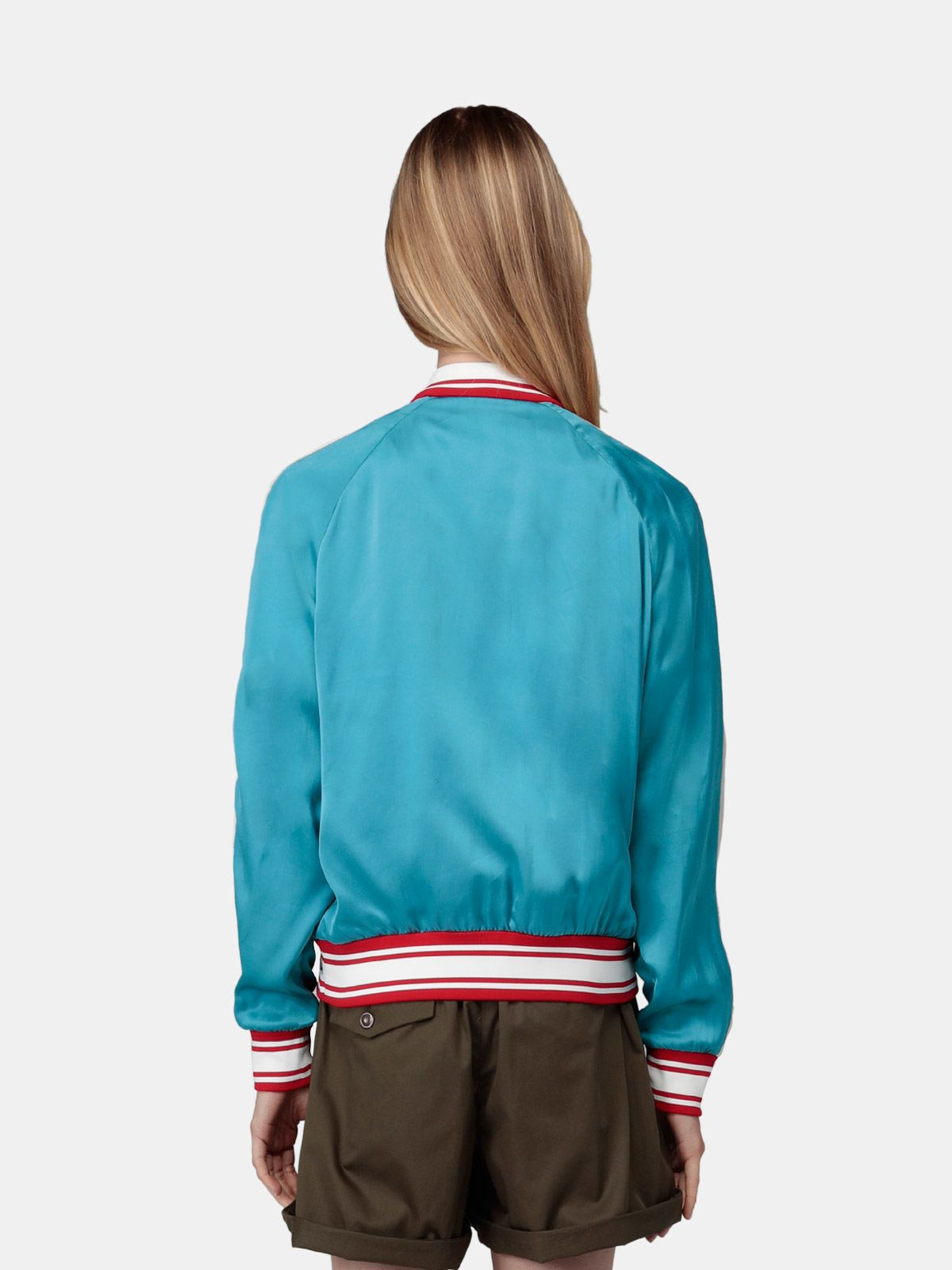 Golden Goose - Sophia bomber jacket in blue satin with contrasting side bands in