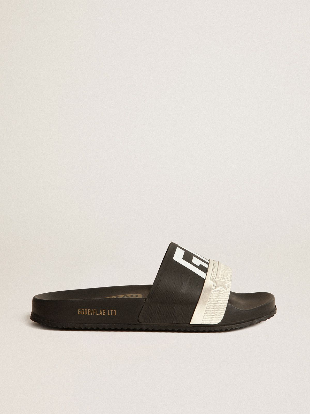 Golden Goose - Men's black Poolstars with two-colour strap and logo in