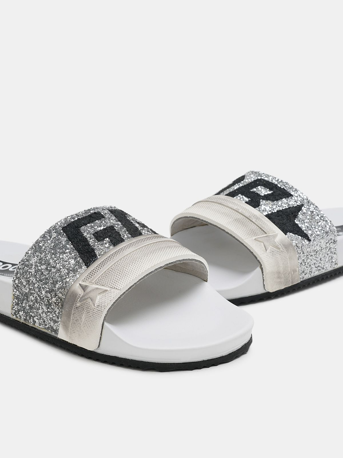Golden Goose - Women's Poolstars with silver glitter and logo in