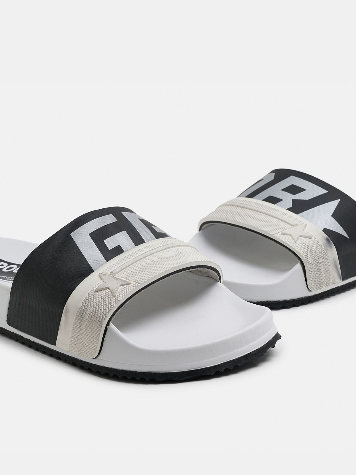Golden Goose - Women's white Poolstars with two-colour black strap in