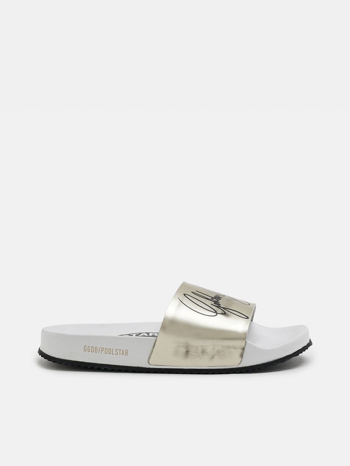 Golden Goose - Women's white Poolstars with gold strap in