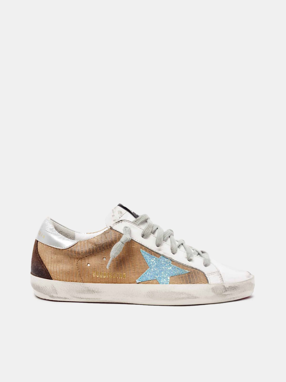 Golden Goose - Super- Star sneakers in lizard-print leather with glitter star in