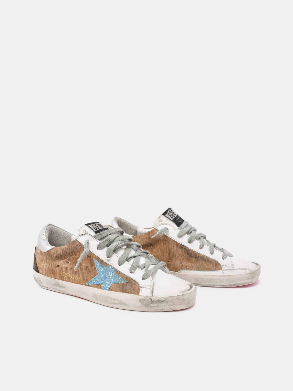 Golden Goose - Sneakers Super- Star in pelle lucertolina e stella glitter in