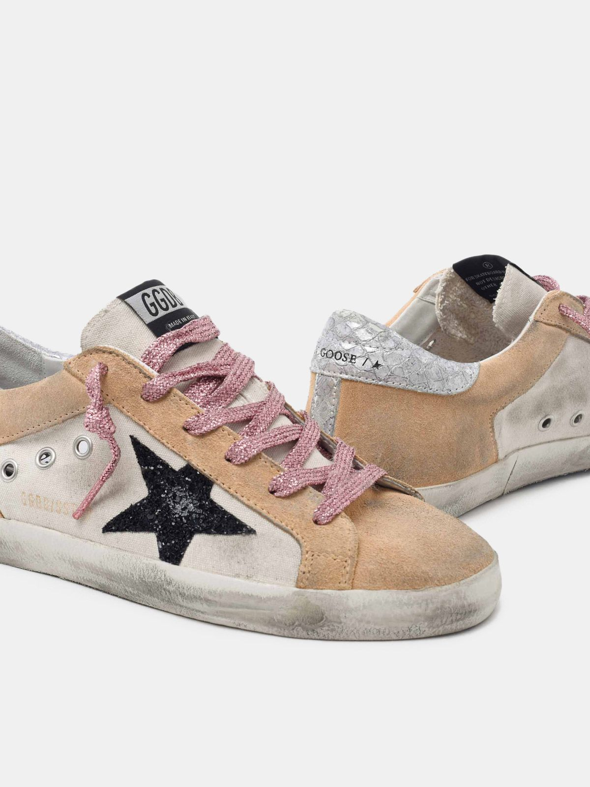 Golden Goose - Super-Star sneakers in sand-coloured suede with silver heel tab in