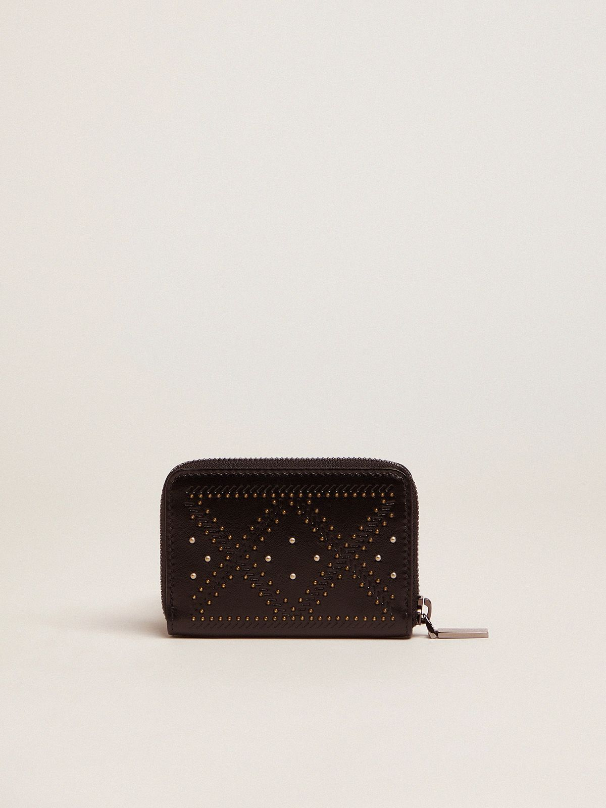 Golden Goose - Star Compact wallet in leather with studs   in