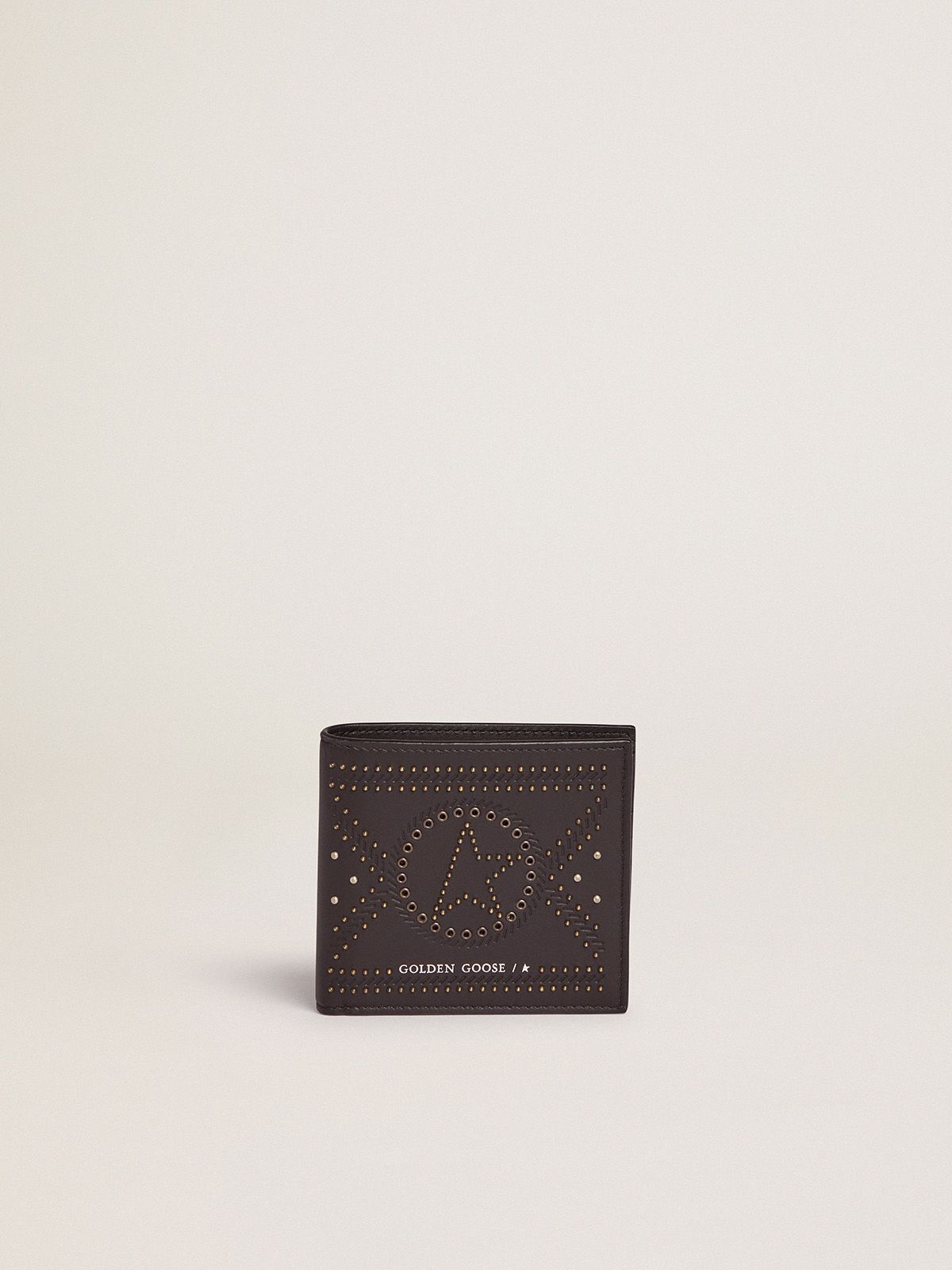 Golden Goose - Star bi-fold wallet in leather with studs in