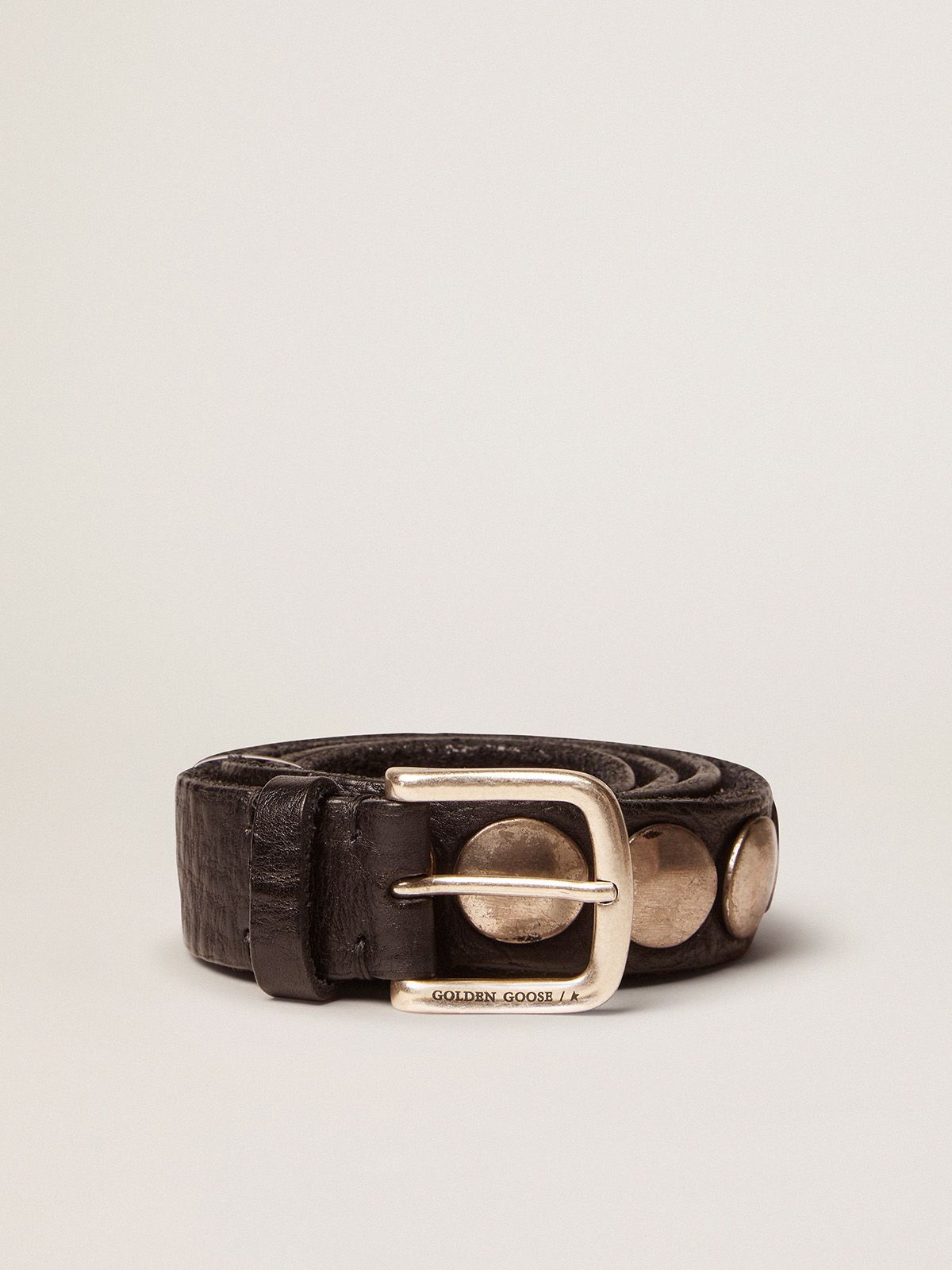 Golden Goose - Black Trinidad belt in washed leather with studs in