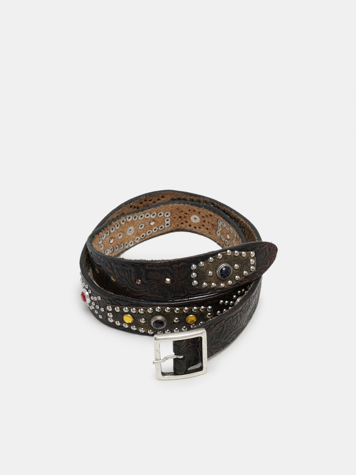 Golden Goose - Square belt in printed leather with studs    in