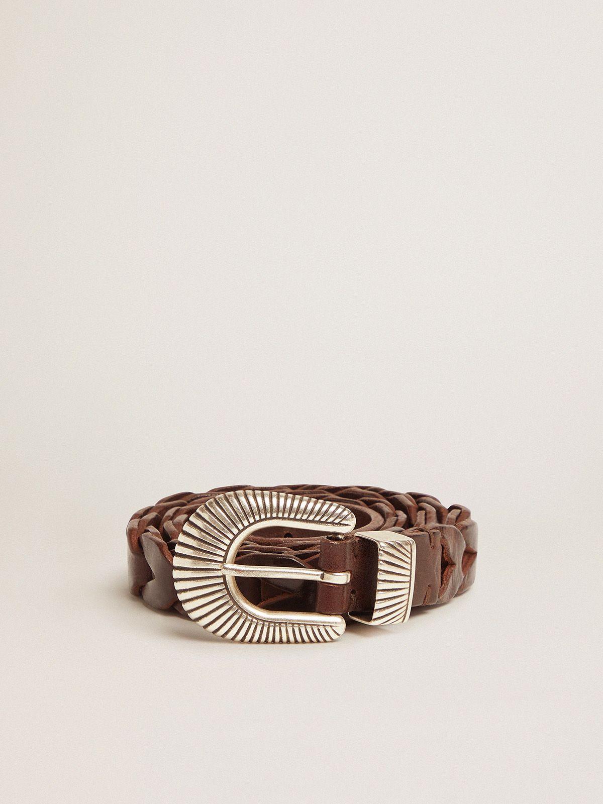 Golden Goose - Brown Juno belt in braided leather in