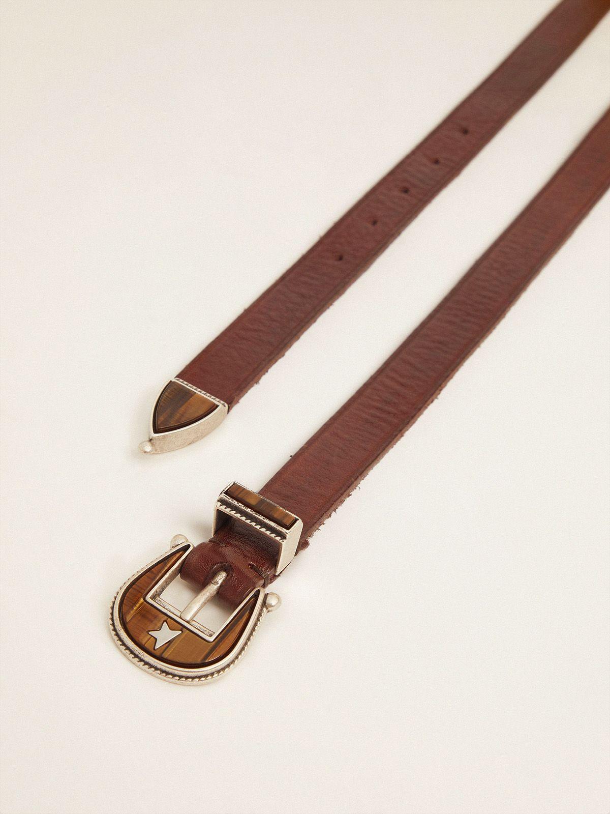 Golden Goose - Dark brown Rodeo belt with tone-on-tone buckle in
