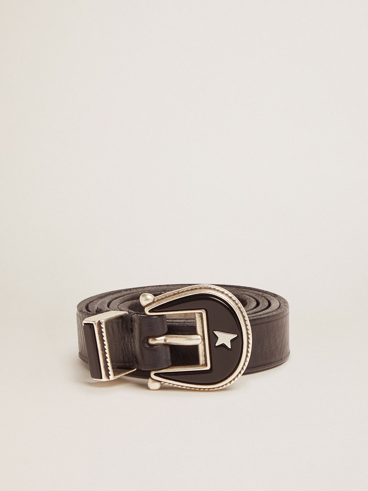 Golden Goose - Black leather Rodeo belt with tone-on-tone buckle in