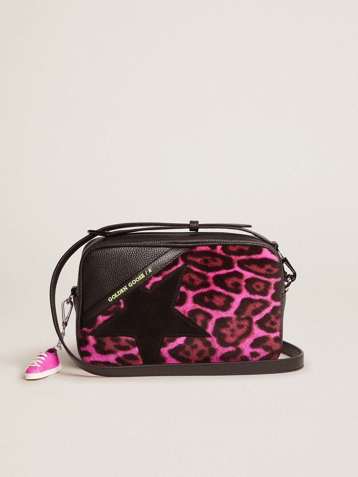 Star Bag made of fuchsia leopard-print pony skin