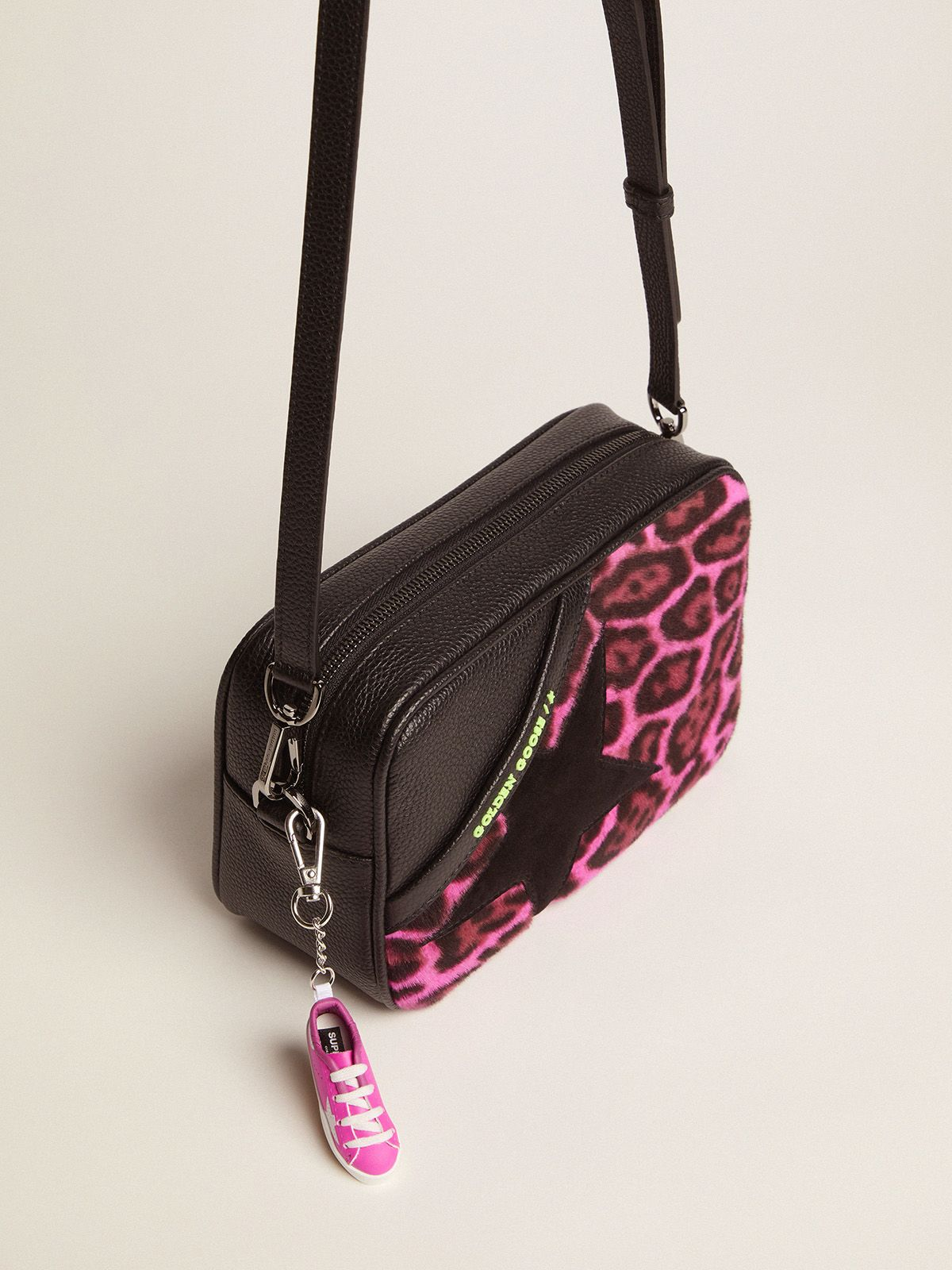 Golden Goose - Borsa Star Bag in cavallino fucsia leopardato in