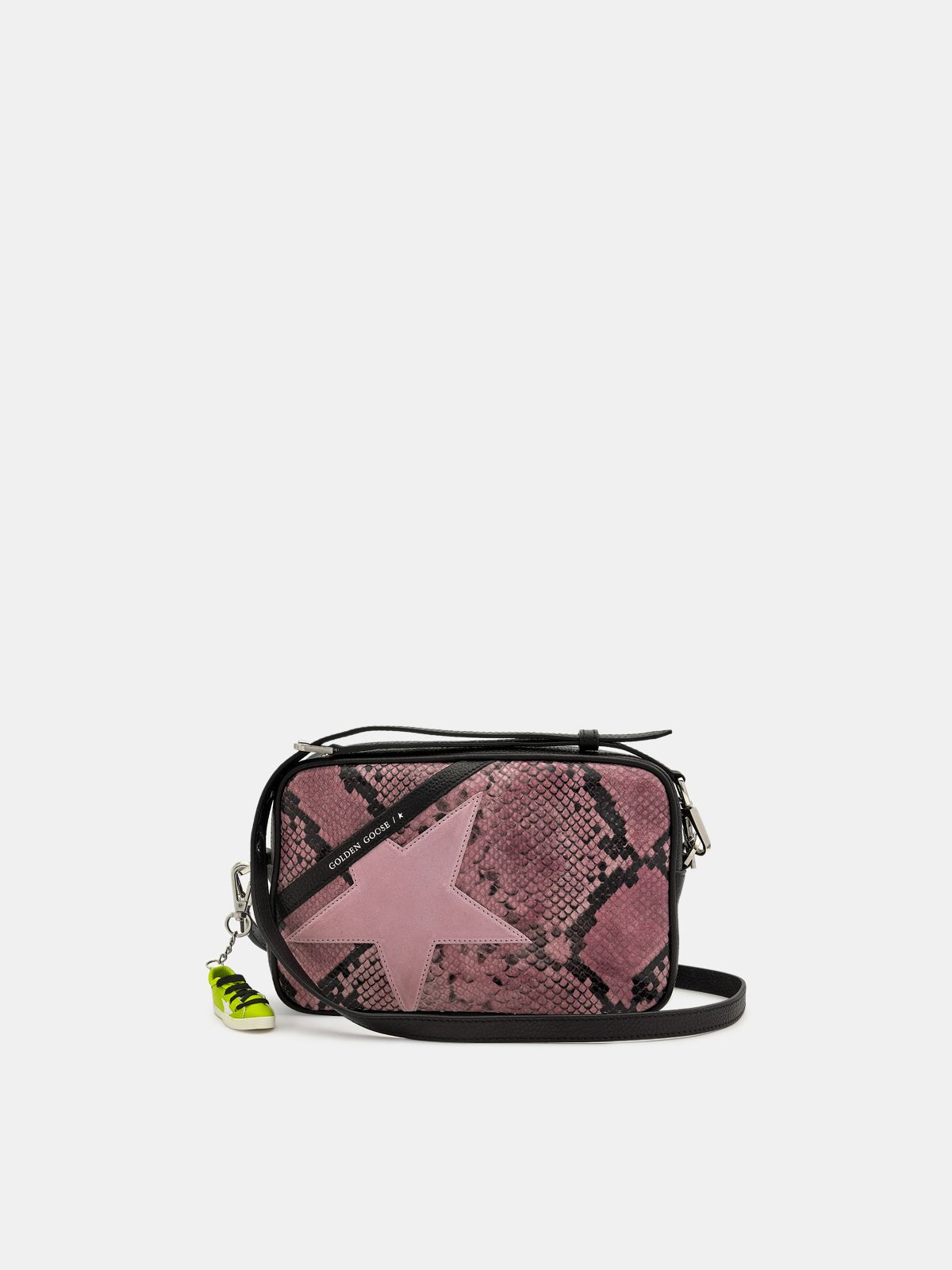 Star Bag made of pink snake-print leather