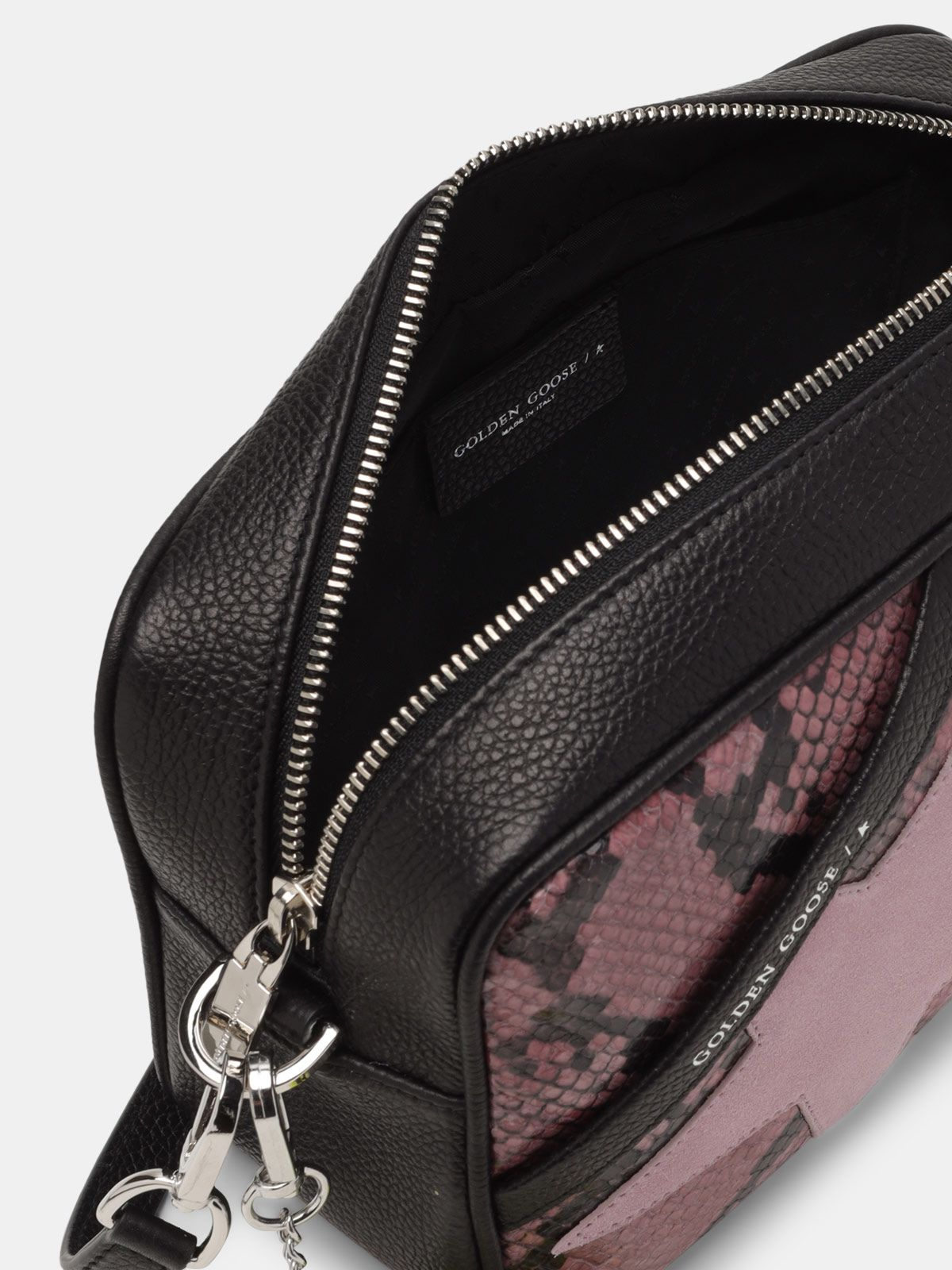 Golden Goose - Star Bag made of pink snake-print leather in