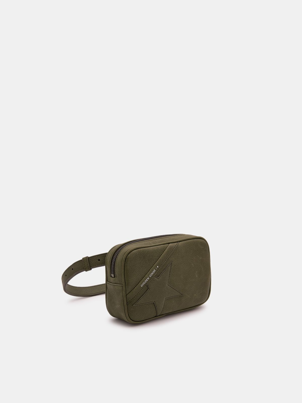 Golden Goose - Army green Star Belt Bag made of hammered leather in
