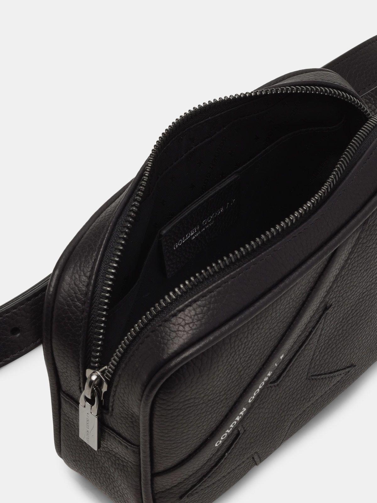 Golden Goose - Black Star Belt Bag made of hammered leather in