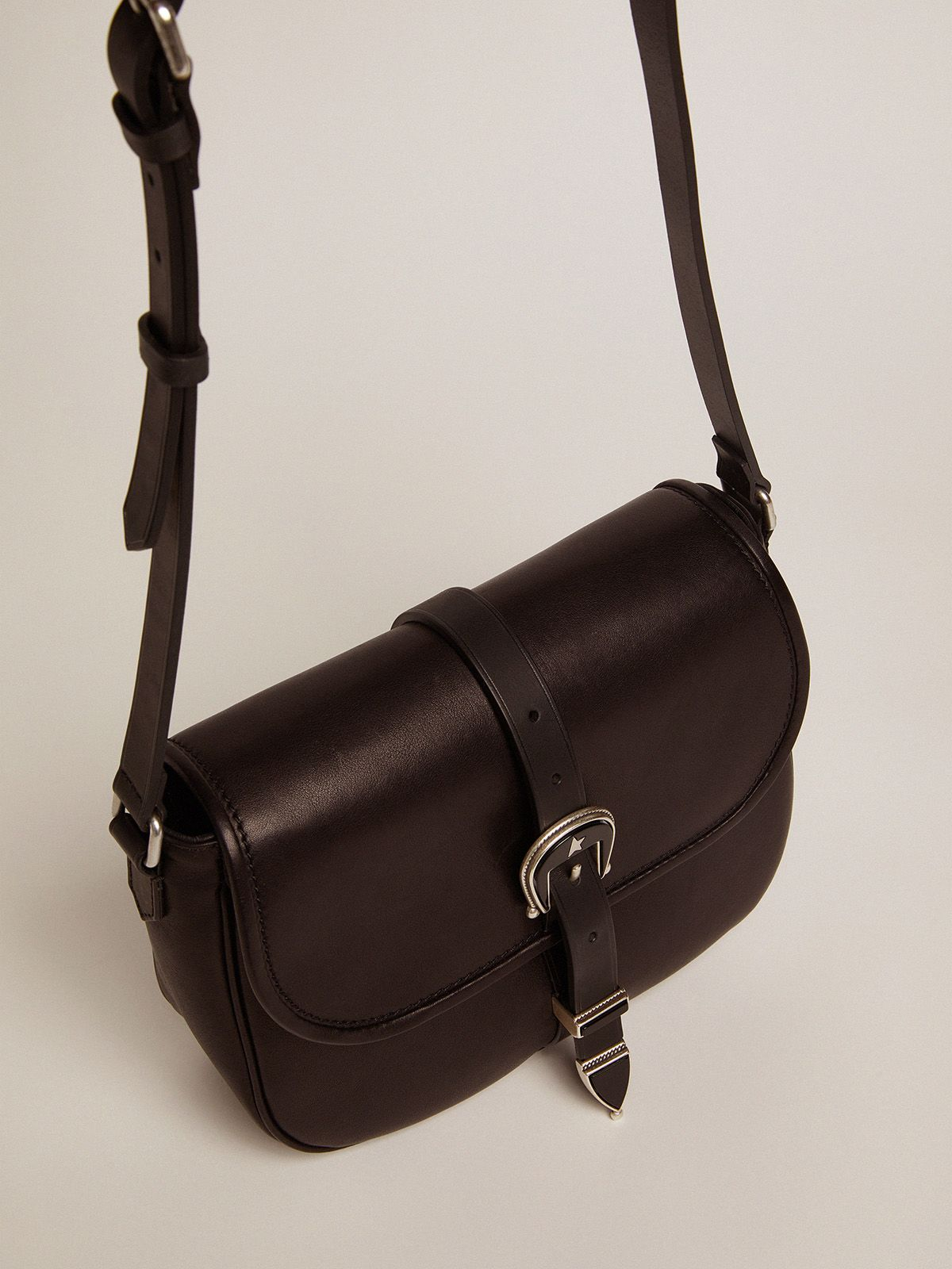 Golden Goose - Medium black leather Rodeo Bag in