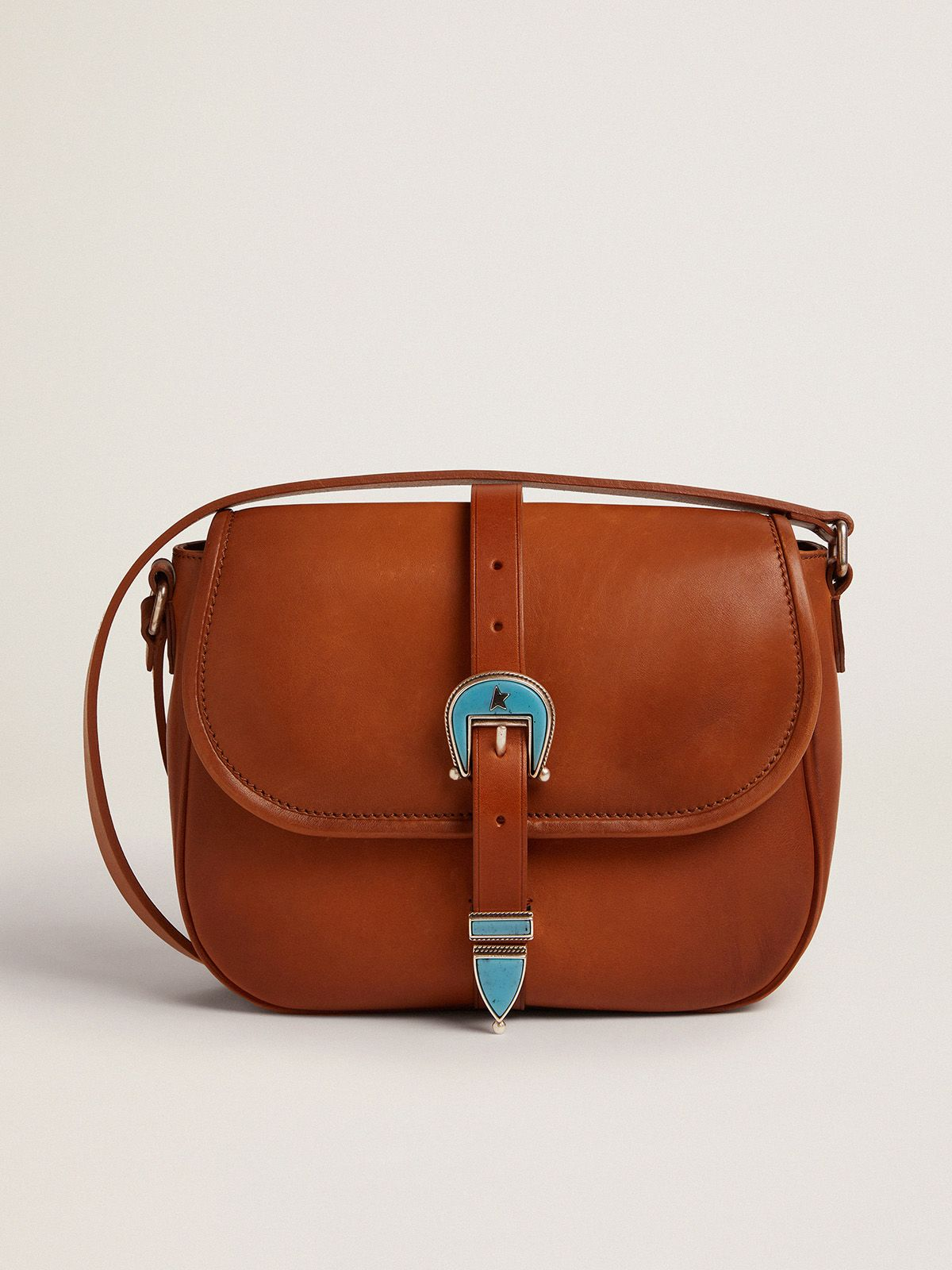 Medium Rodeo Bag in pale tan leather with blue buckle