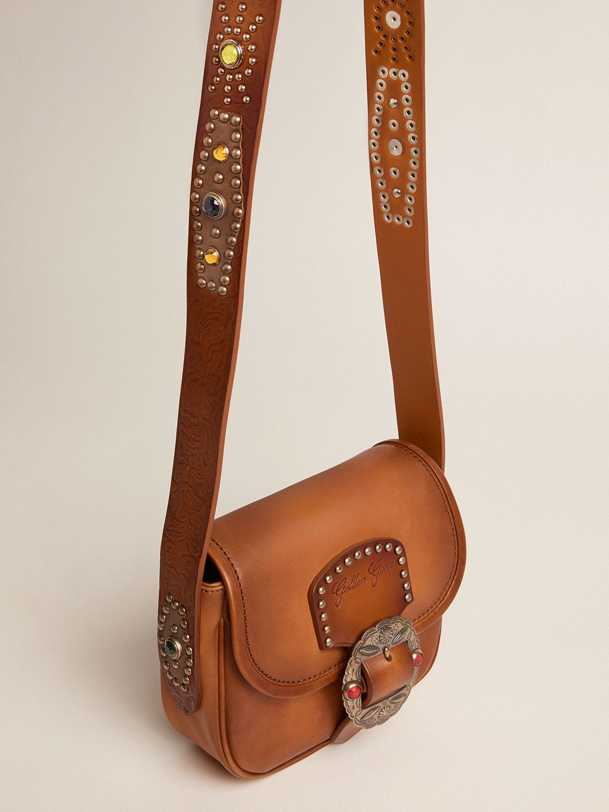 Golden Goose - Small Rodeo Bag in leather with decorative studs in