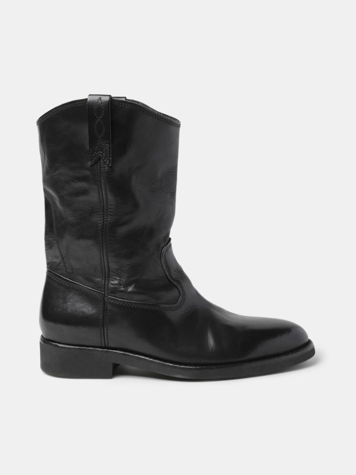 Golden Goose - Biker boots in glossy black leather in