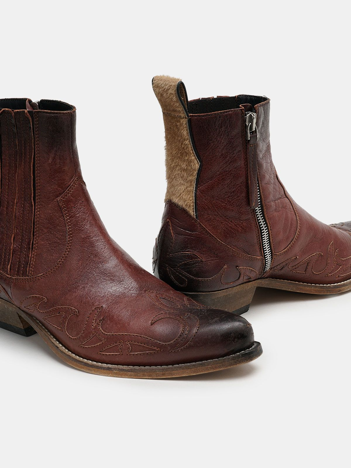 Golden Goose - Santiago burgundy ankle boots with pony skin insert in