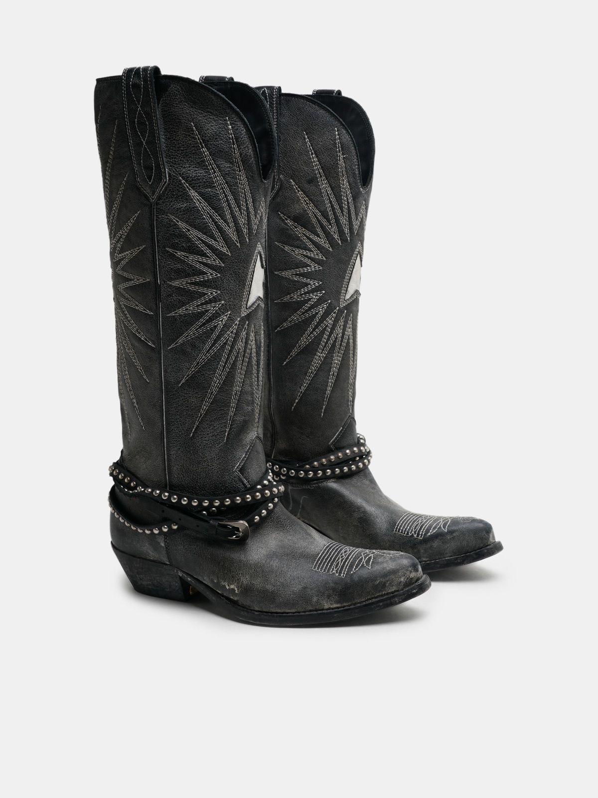Golden Goose - Wish Star boots in leather with studded strap in