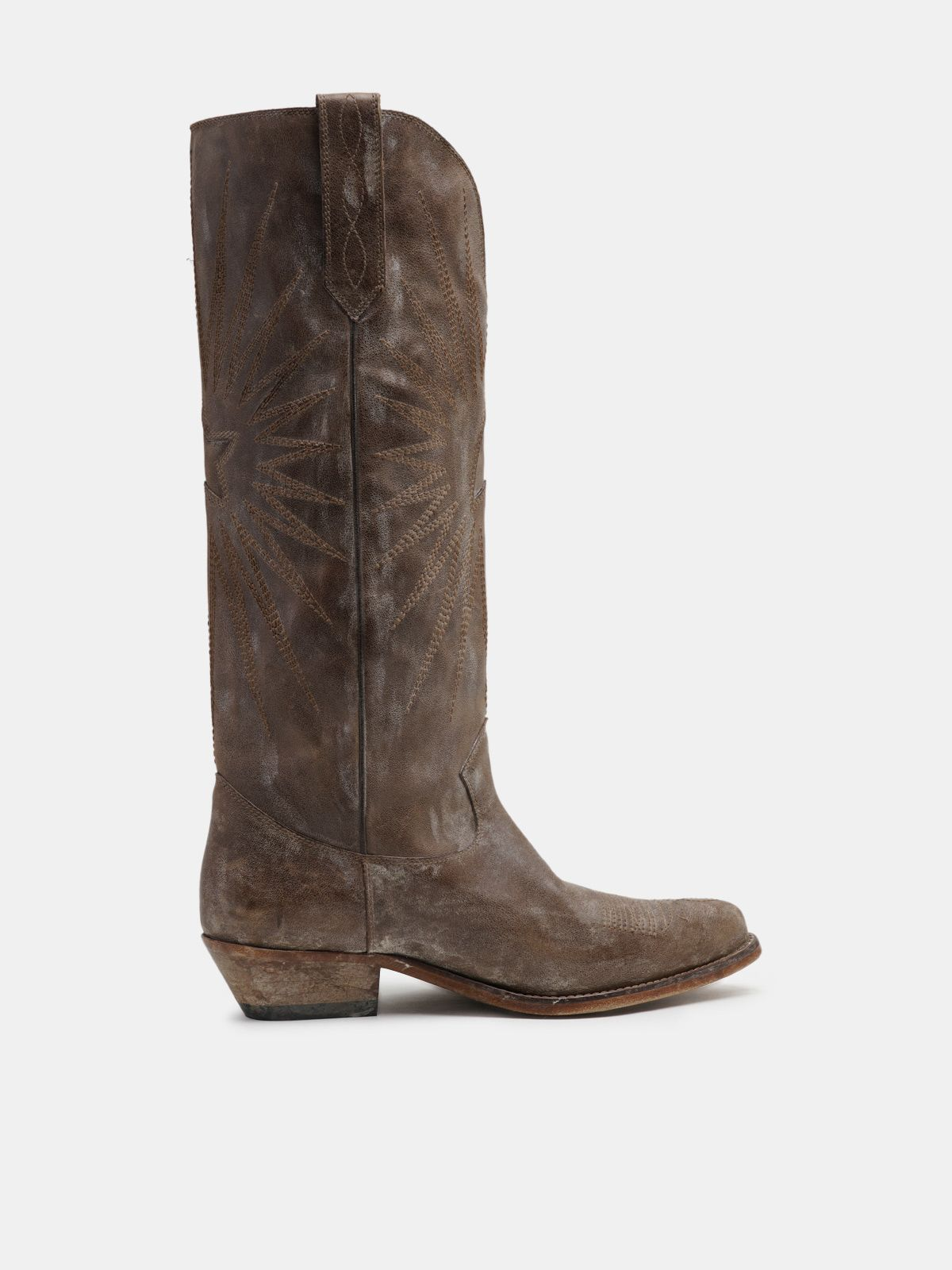 Golden Goose - Wish Star boots in light brown leather in