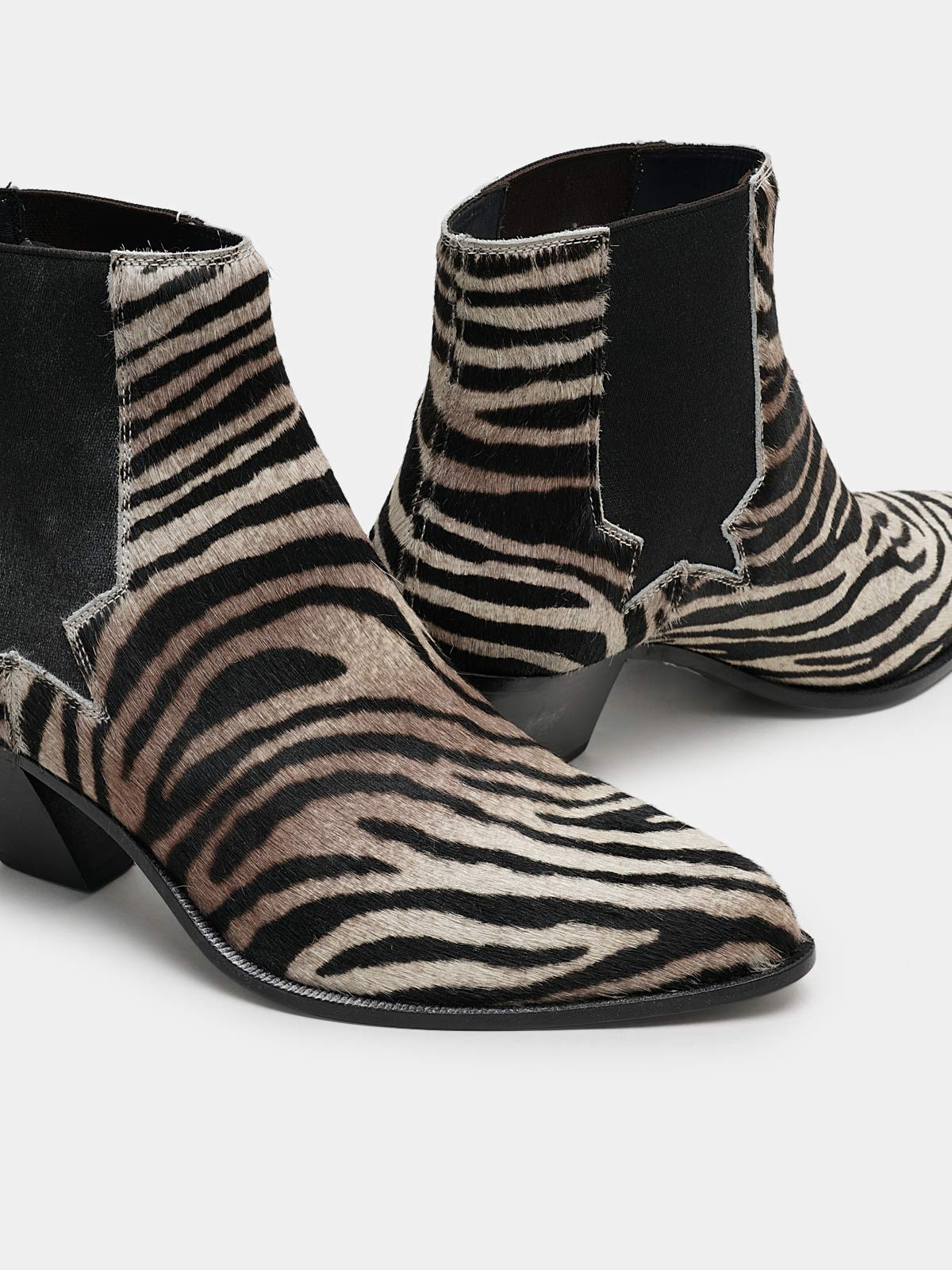 Golden Goose - Sunset ankle boots in zebra-print pony skin in