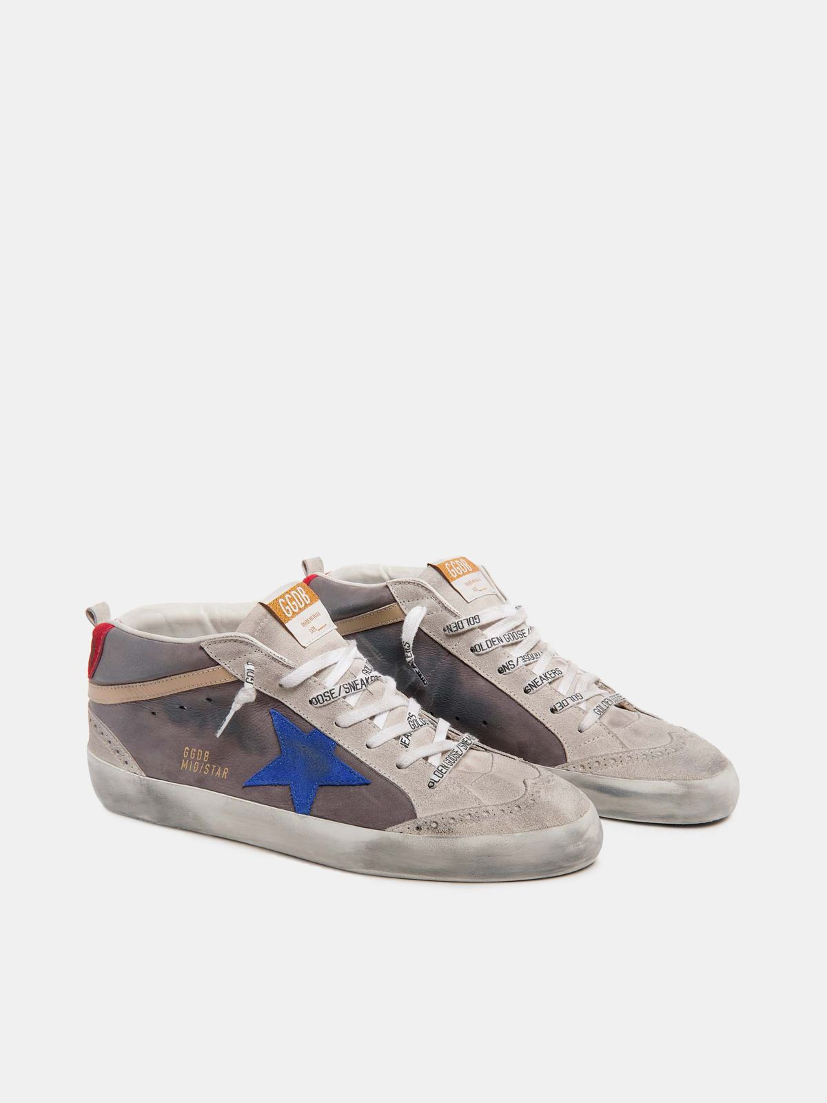 Golden Goose - Mid Star sneakers in nubuck with blue star in