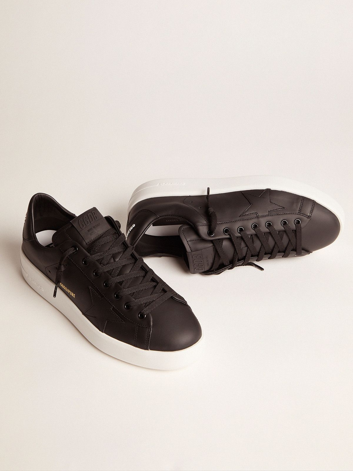 Golden Goose - Black leather PURESTAR sneakers in