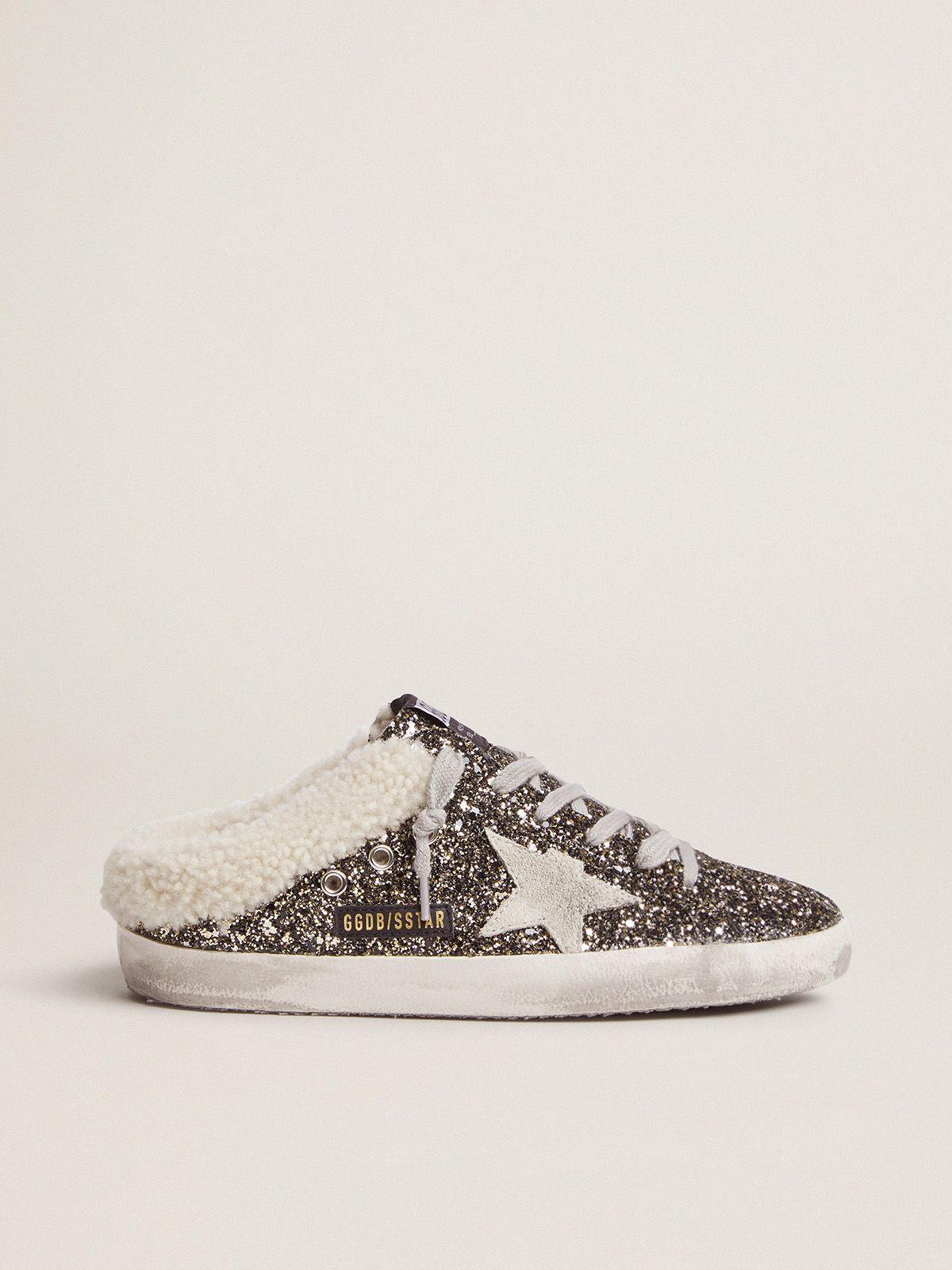 Sneakers Super-Star sabot con glitter e interno shearling