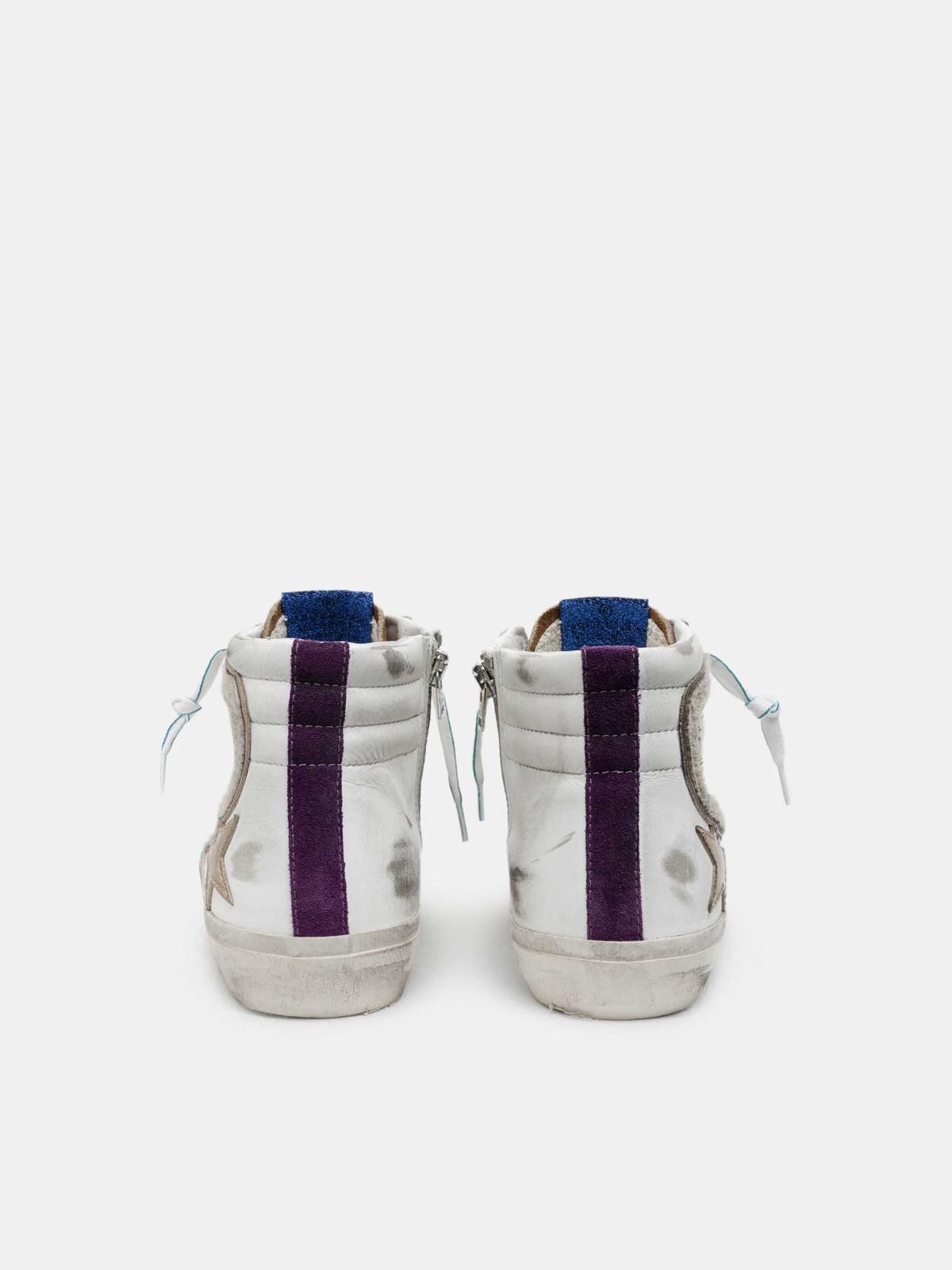 Golden Goose - Slide sneakers with metallic star and pony skin details in