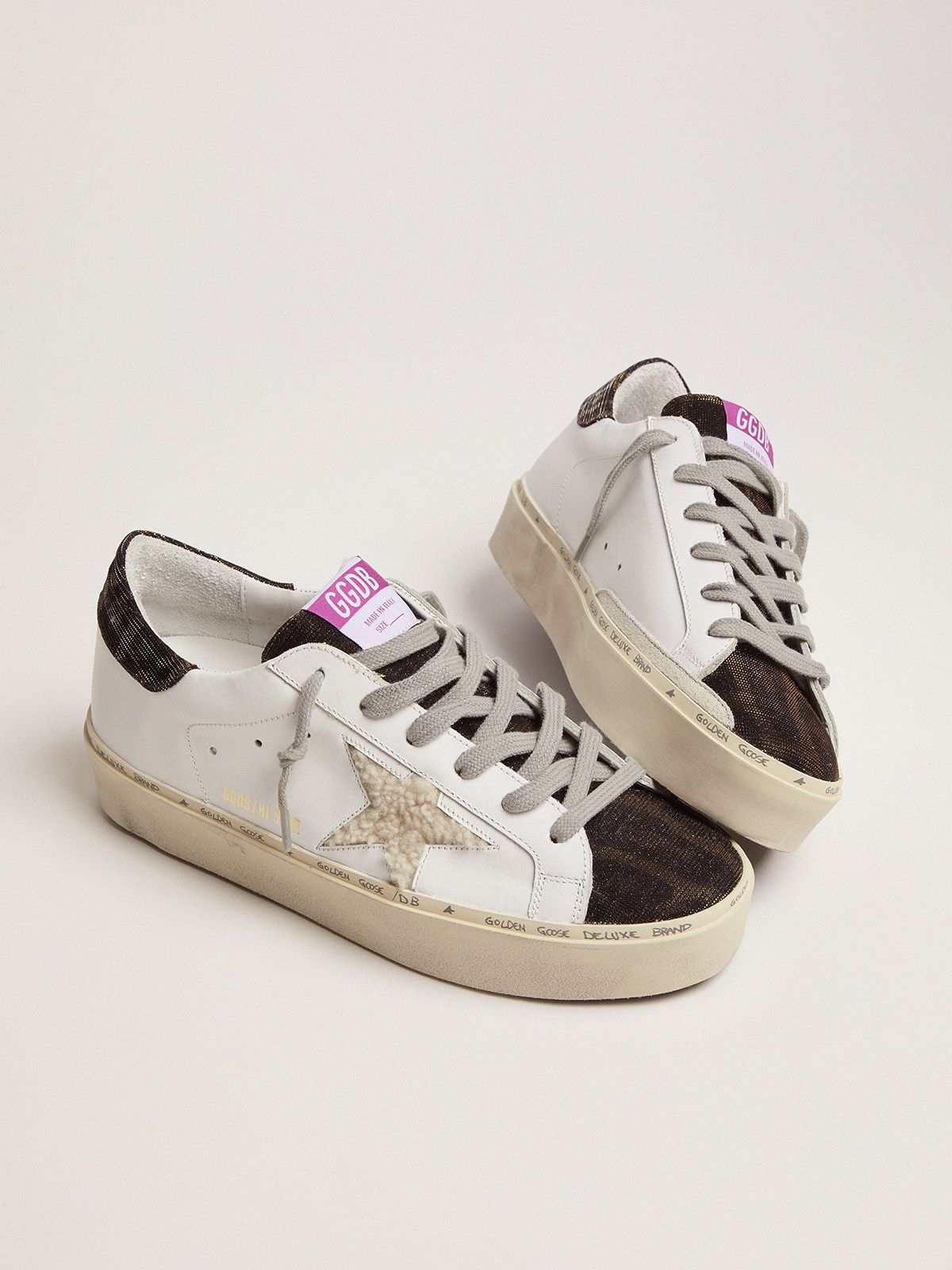 Golden Goose - Hi Star sneakers with shearling star and leopard-print tongue in