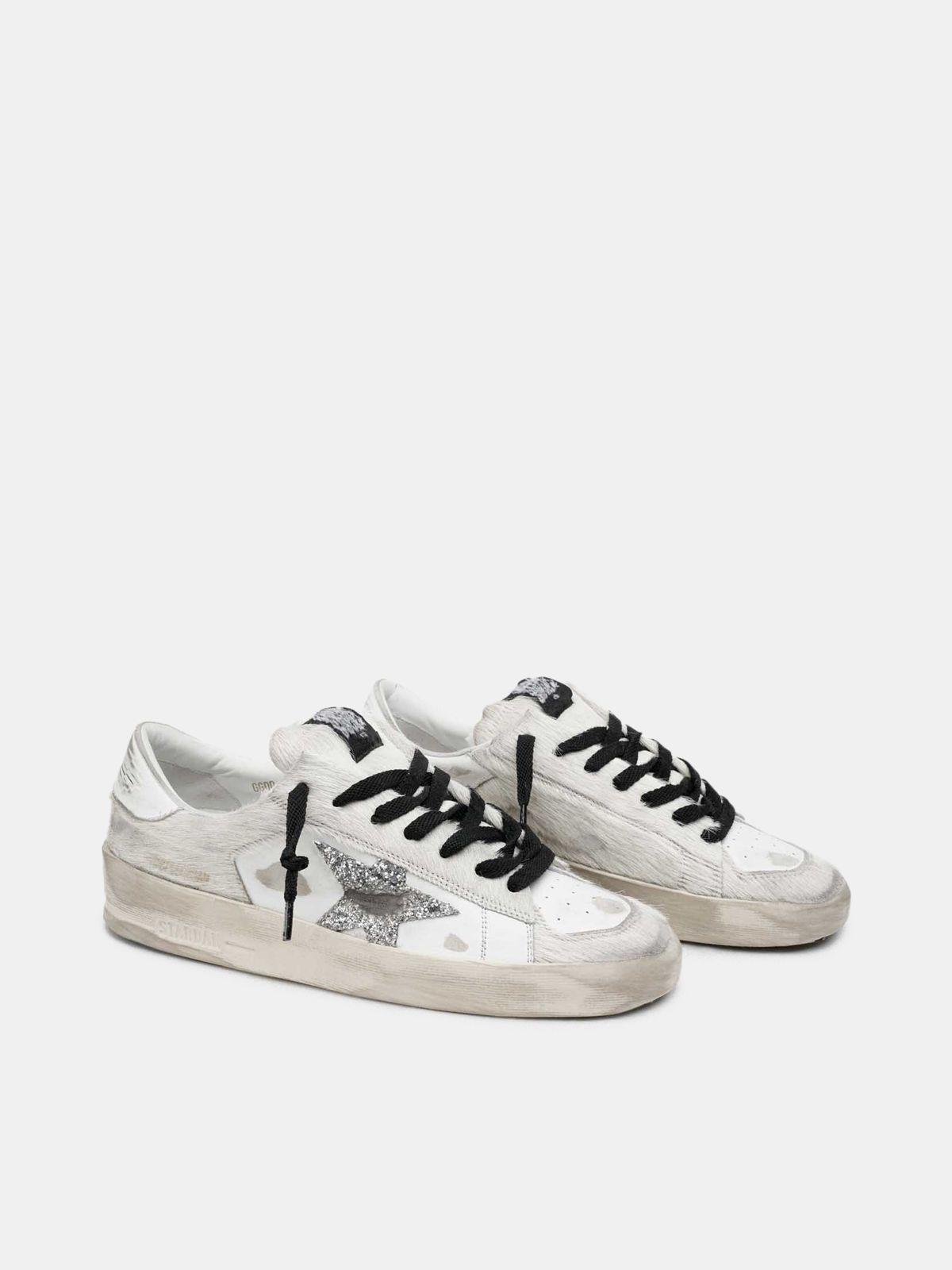 Golden Goose - White Stardan sneakers with glitter star in
