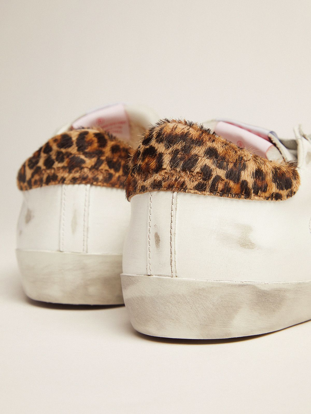 Golden Goose - Men's LAB Limited Edition Super-Star sneakers with double tongue and leopard-print heel tab in