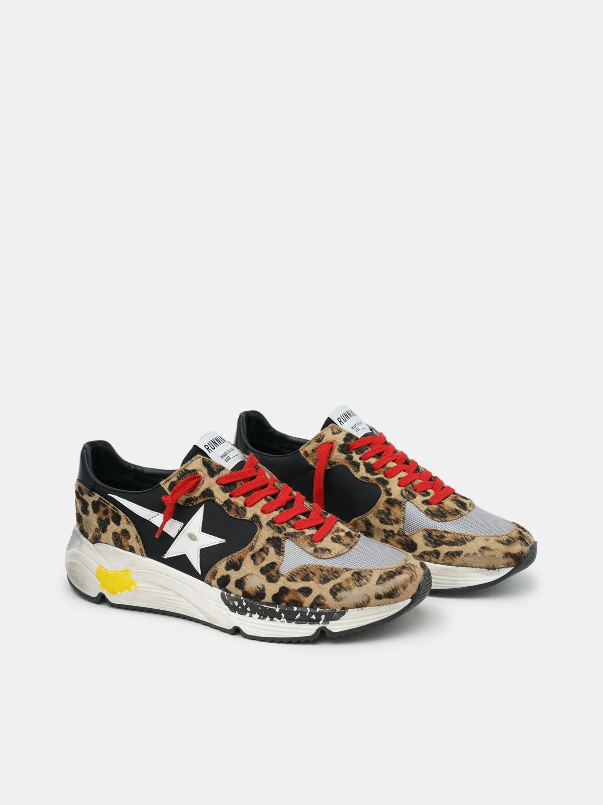 Golden Goose - Running Sole sneakers in leopard-print pony skin with red laces in