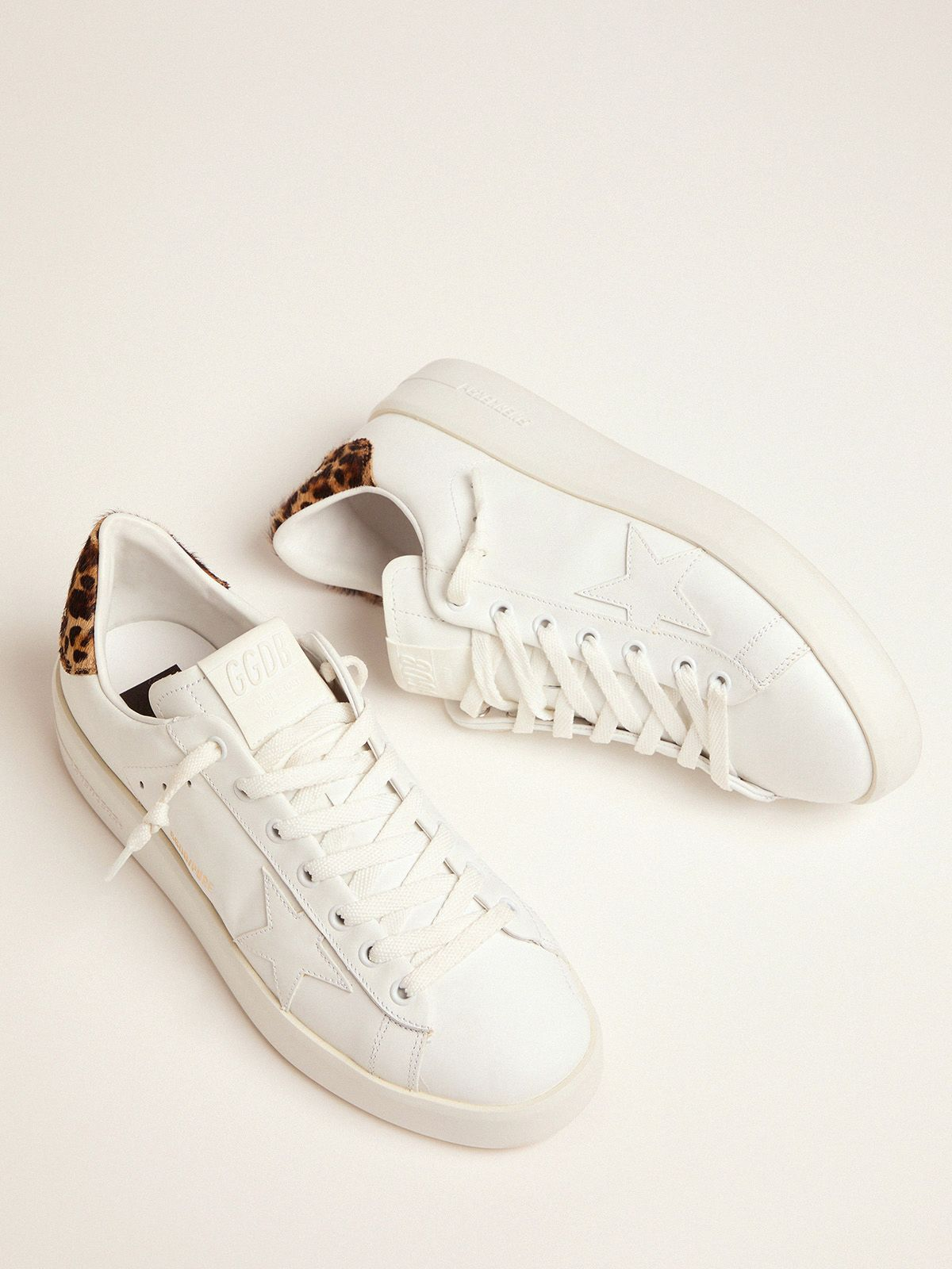Golden Goose - Women's PURESTAR sneakers with leopard-print heel tab in