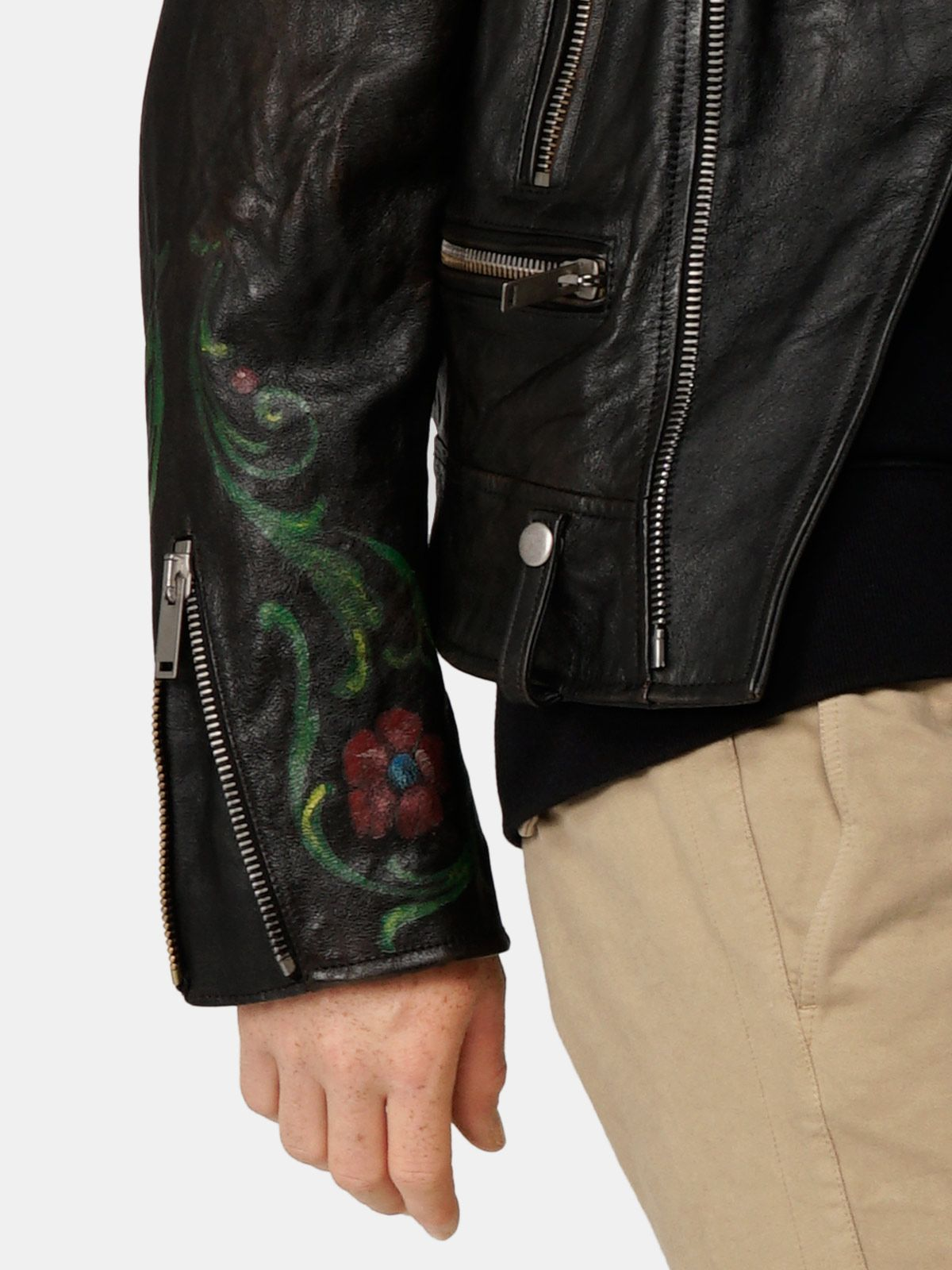 Golden Goose - Arden leather biker jacket with hand-painted details in