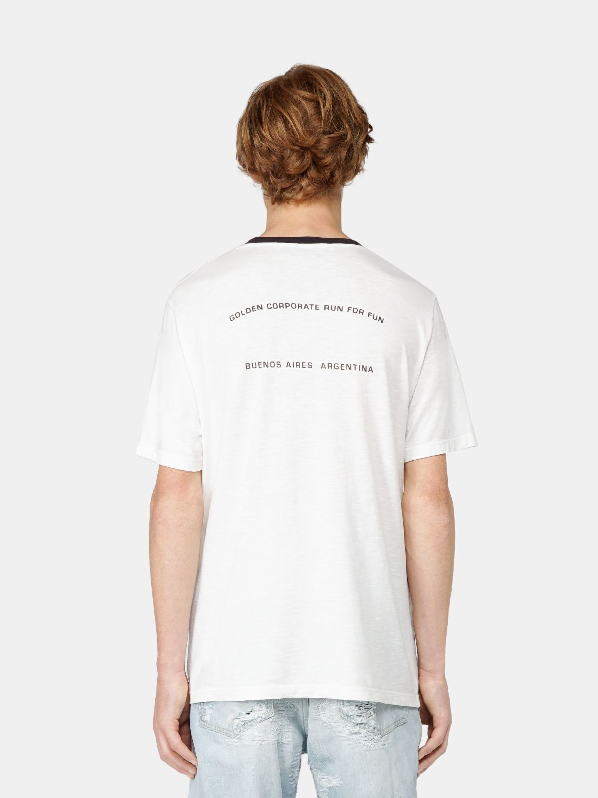 Golden Goose - Adamo T-shirt with contrasting collar and print on the front in