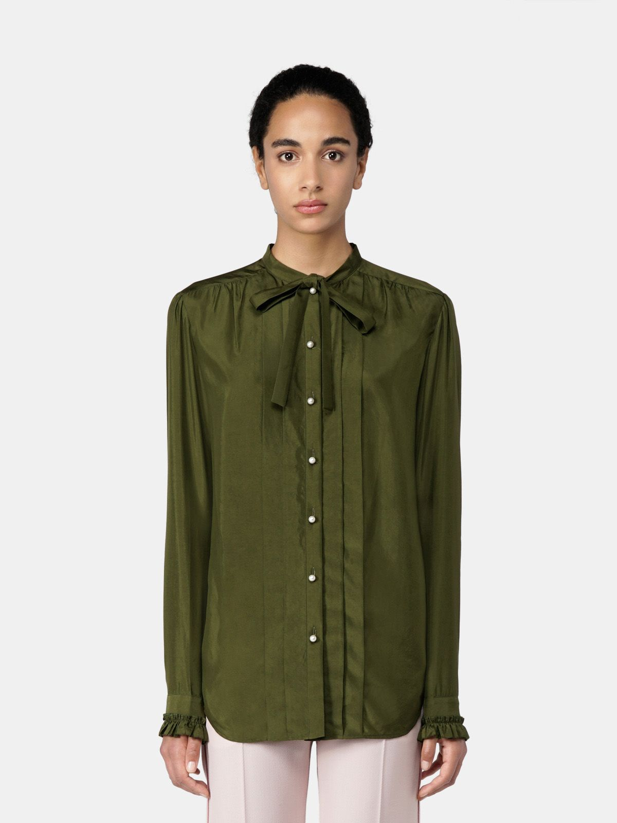 Golden Goose - Alessia shirt in military green cupro in